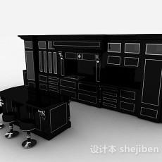 最新欧式风格黑色上下层一体橱柜3d模型下载