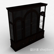 家居棕色木质书柜3d模型下载