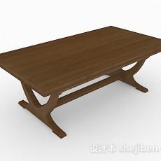 棕色木质简约餐桌3d模型下载