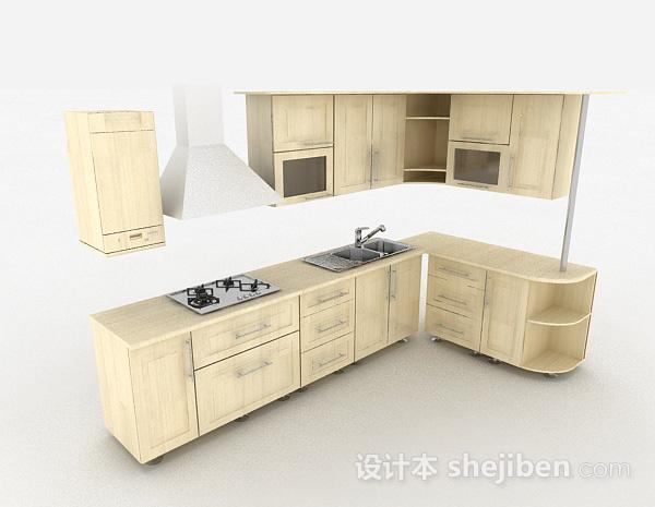 现代风格米白色L型时尚整体橱柜