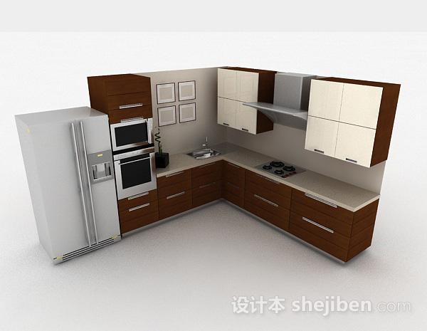 现代时尚L型棕色整体橱柜