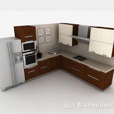 现代时尚L型棕色整体橱柜3d模型下载
