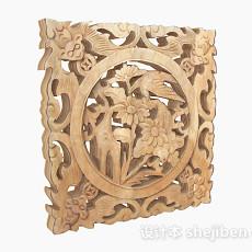 中式原木色镂空雕刻山水窗户3d模型下载