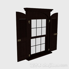欧式风格木质百叶窗3d模型下载