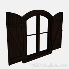 欧式风格深棕色木质2层门窗户3d模型下载