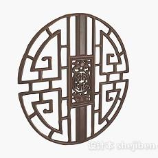 中式风格圆形棕色木质窗户3d模型下载