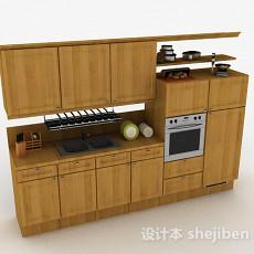 一字型木质整体橱柜3d模型下载