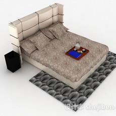 棕色双人床3d模型下载