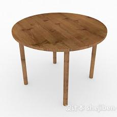 木质简约圆形餐桌3d模型下载