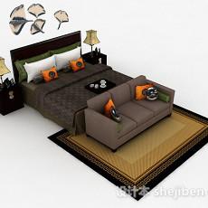 新中式家居双人床3d模型下载
