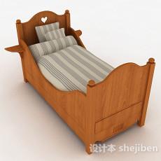 木质儿童单人床3d模型下载