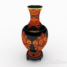 中式风格黑底花纹大肚瓶3d模型下载