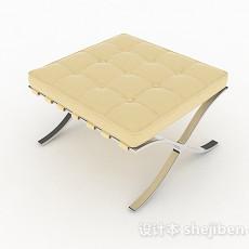 简欧黄色沙发凳3d模型下载