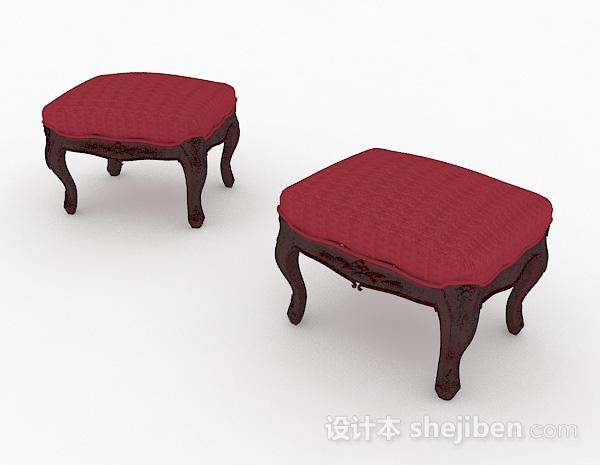 欧式红色沙发凳