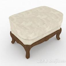 白色沙发凳3d模型下载