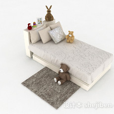 儿童单人床3d模型下载