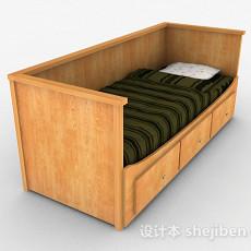 黄色木质单人床3d模型下载