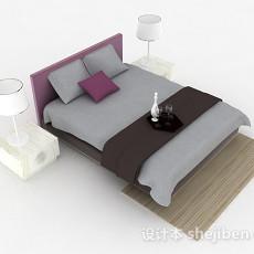 灰色简约双人床3d模型下载