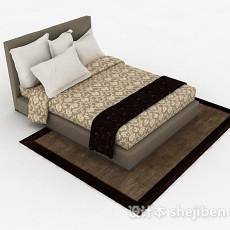 棕色家居双人床3d模型下载