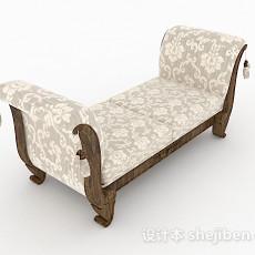 欧式风格白色花纹床脚凳3d模型下载
