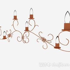 欧式棕色壁灯3d模型下载