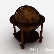 欧式风格木质地球仪3d模型下载