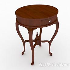 圆形棕色梳妆桌3d模型下载