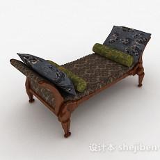 中式风格奢华脚凳沙发3d模型下载