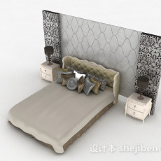 欧式家居双人床3d模型下载
