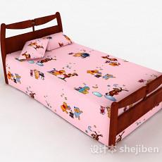 粉色儿童床3d模型下载