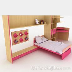 木质家居简约床柜组合3d模型下载
