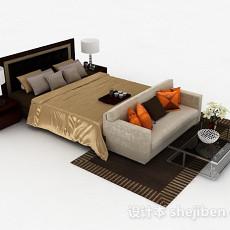家居棕色双人床3d模型下载
