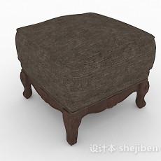棕色方形沙发凳3d模型下载