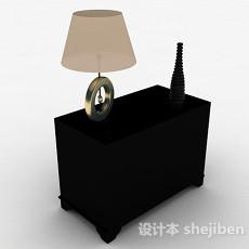 黑色简约床头柜3d模型下载