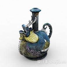 中式风格雕刻龙造型水壶3d模型下载
