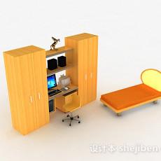 黄色木质书桌柜3d模型下载