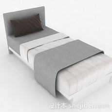 灰色简约单人床组合3d模型下载