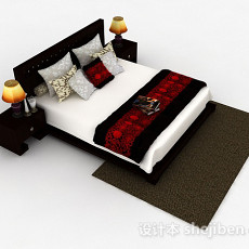 家居双人床3d模型下载