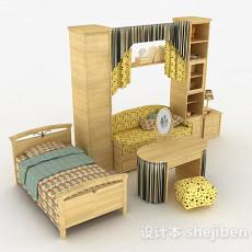 田园风格床柜组合3d模型下载