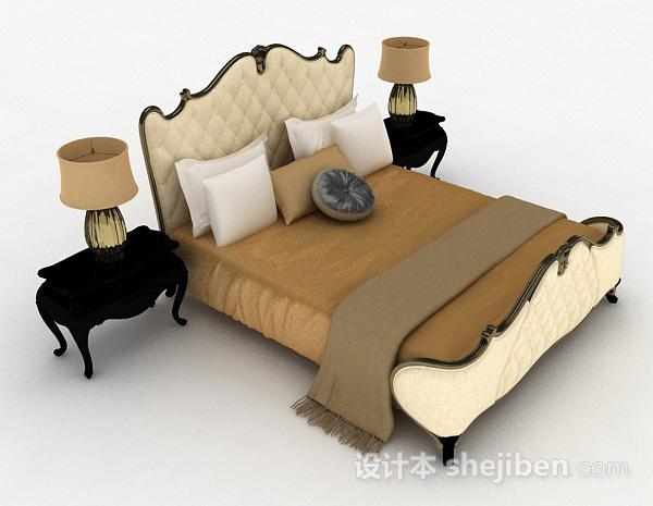 欧式黄色双人床