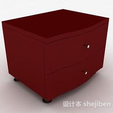 简约红色床头柜3d模型下载