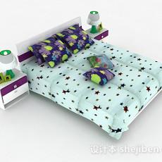 绿色双人床3d模型下载