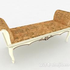 欧式风格木质休闲沙发脚凳3d模型下载