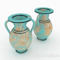 中式风格蓝色花纹喇叭花瓶3d模型下载
