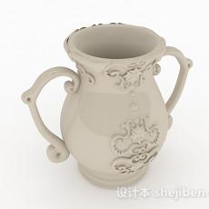 中式风格白色大肚花瓶3d模型下载