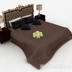 欧式棕色双人床3d模型下载