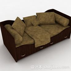 棕色木质单人床3d模型下载