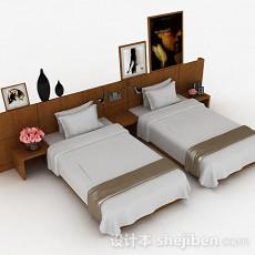 木质简约单人床组合3d模型下载