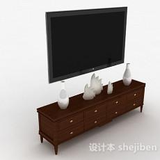 欧式风格木质棕色电视储物柜3d模型下载