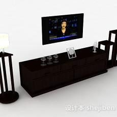 黑色挂壁式电视机3d模型下载